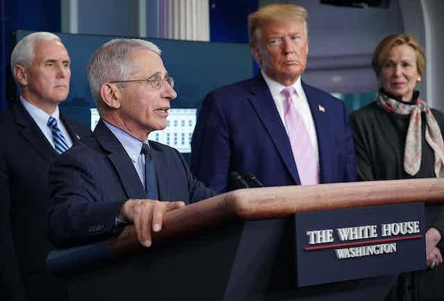 Pence, Fauci, Trump and Birx at a coronavirus task force press conference