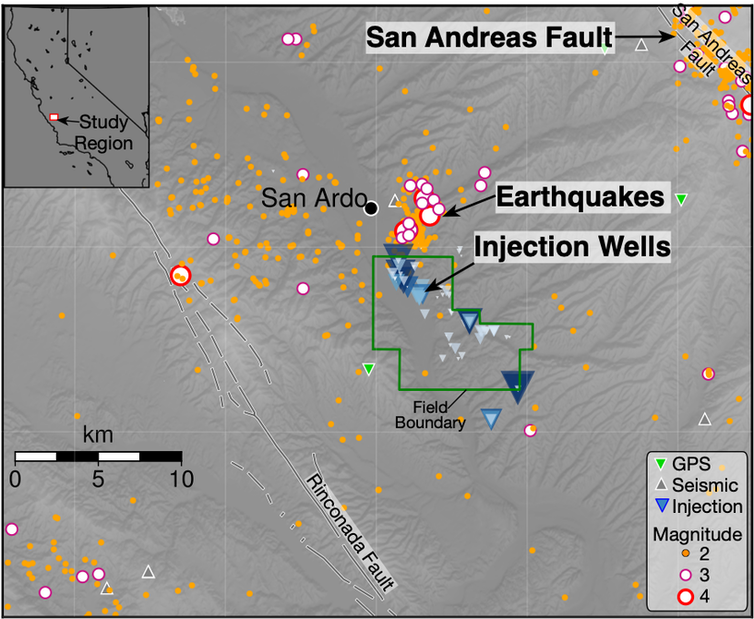 Map of wells and earthquakes.