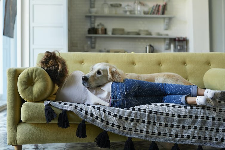 woman lying on couch with dog