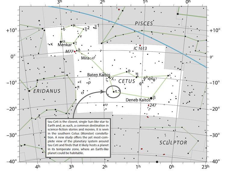 La constelación de Cetus. Tau Ceci está encerrado en un círculo. IAU y Sky & Telescope (Imagen alterada para agregar título), CC BY