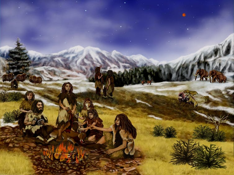 Illustration of Neolithic family around a fire on a grassy plain.