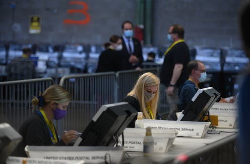 Election officials counting ballots in Pittsburgh, PA