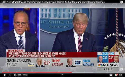 NBC News interrupts presidential remarks