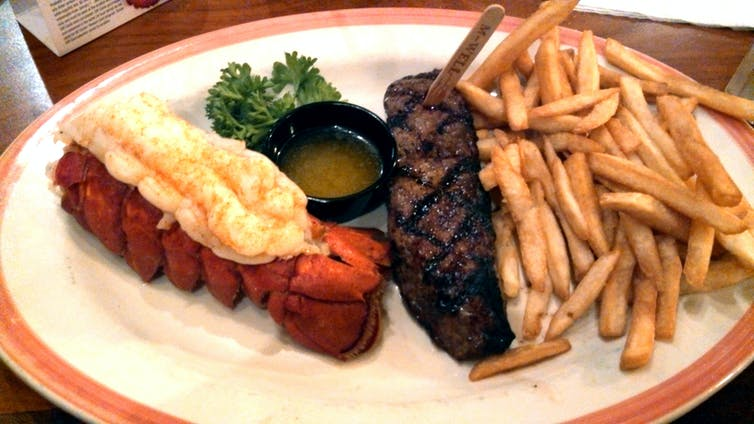 Lobster, steak and chips