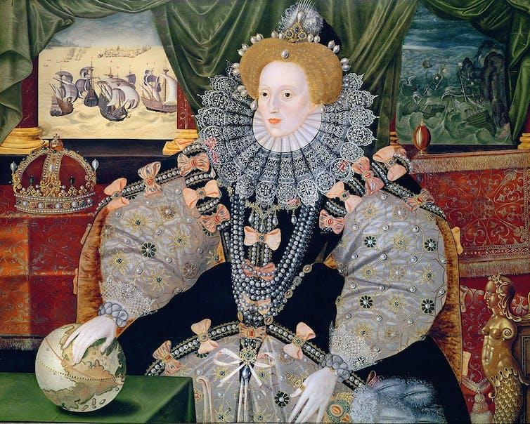 Retrato de Isabel I (de autor anónimo, cara a 1589), conmemorando a derrota da armada española. Fonte: Wikimedia Commons.