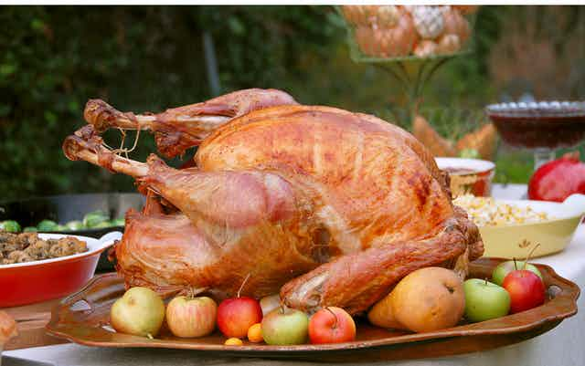 A cooked turkey sitting on a platter surrounded by apples on a table outside.