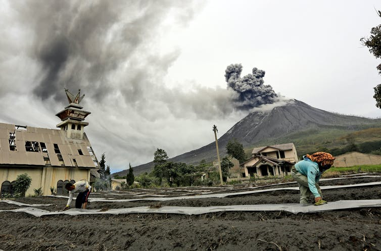A volcano spews black ash as farmers work in the foreground.