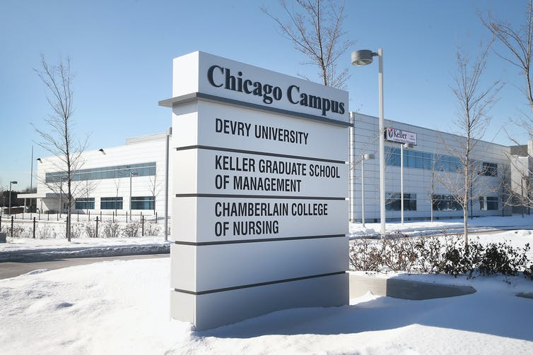 DeVry University's Chicago campus in the winter time.