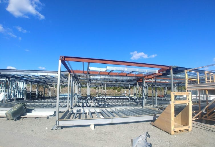 steel frames of a building under construction