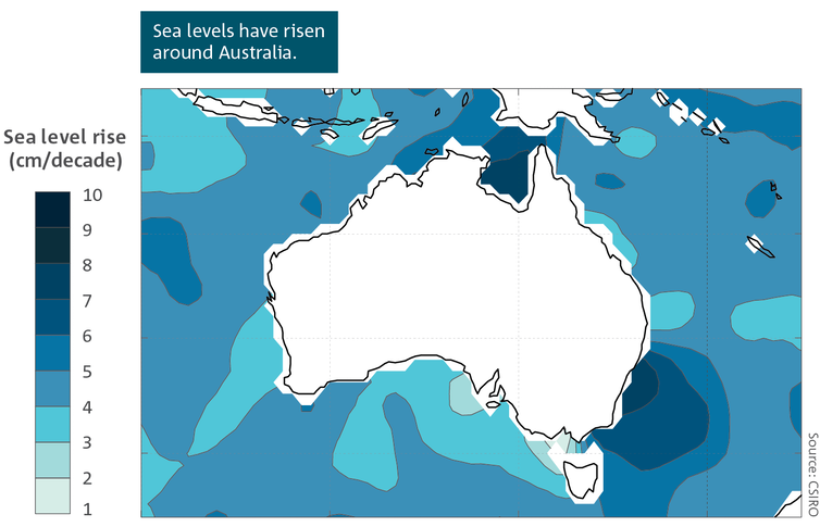 A map of Australia showing areas where sea level is rising.