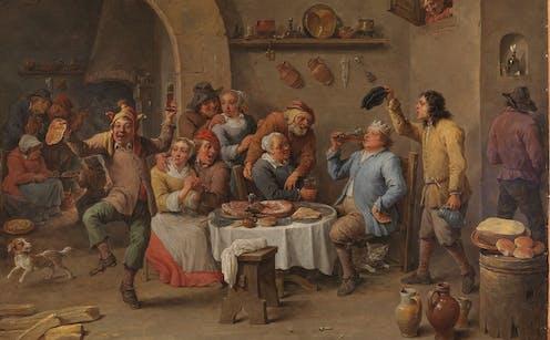 Painting of a drunken Christmas scene.