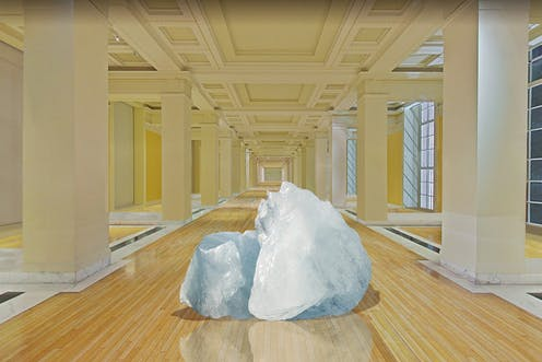 Drawing of a block of ice in grand museum gallery.
