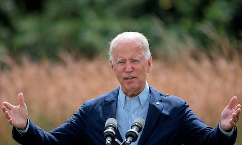 Joe Biden discusses climate change during a speech in September 2020.