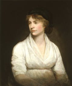 Portrait of Mary Wollstonecraft dressed in white looking to the right.