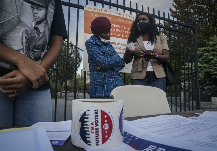 A voter registration drive in Brooklyn, New York.