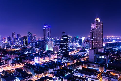 Bright city at night.