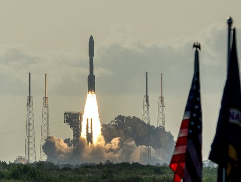Image of Mars 2020 Perseverance space mission launches from Kennedy Space Center.
