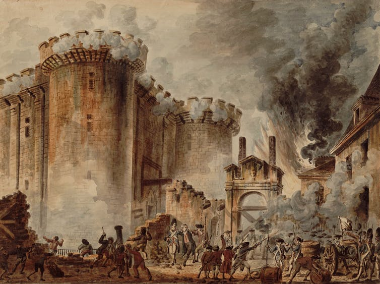 Painting depicts men attacking a grand building with smoke in background.