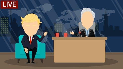 Cartoon of Trump being interviewed by Jon Stewart.