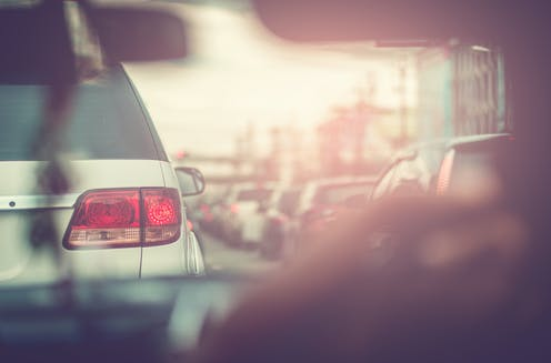 looking through car windscreen in a traffic jam