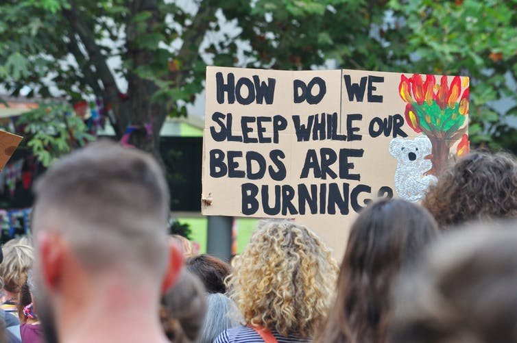A sign at a climate rally