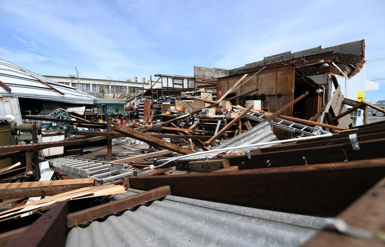 Cyclone damage to homes