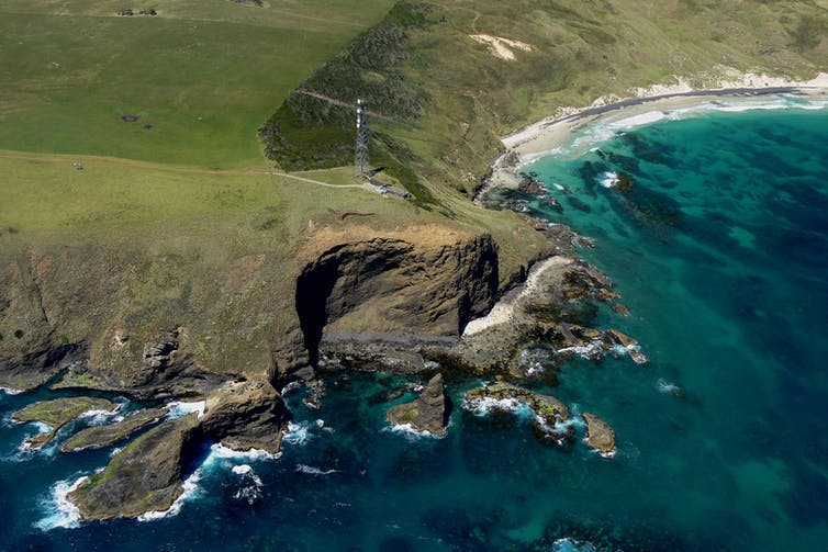 An aerial view of the testing station at Cape Grim, Tasmania.