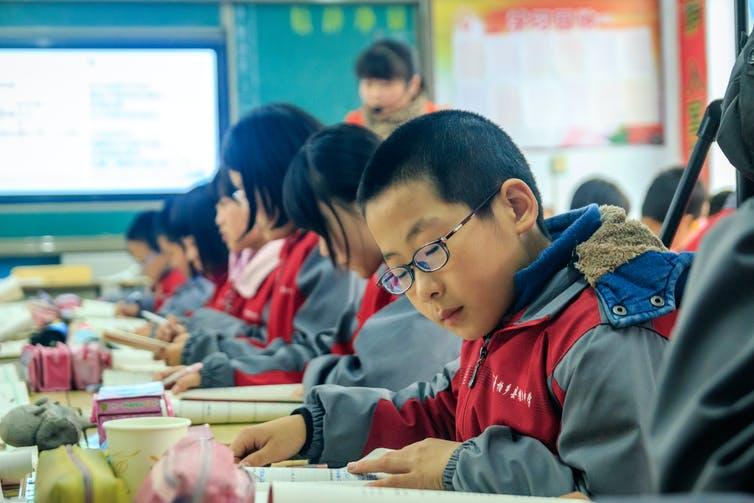 Children in middle school in China.