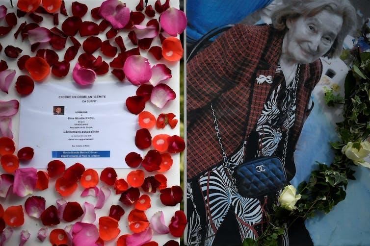 Une photo et hommage de Mireille Knoll devant chez elle, mars 2018