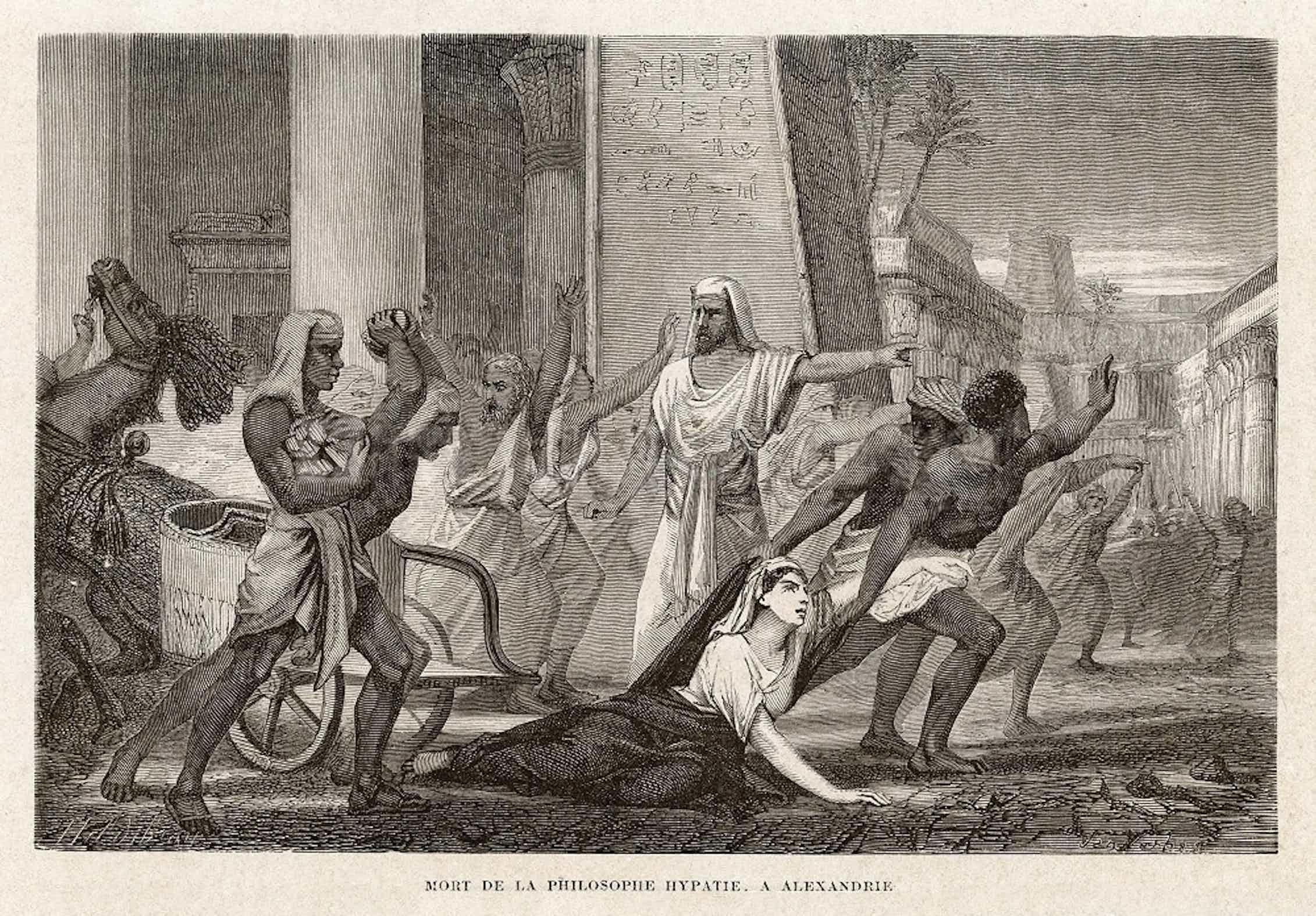 Grabado de 1865 que ilustra el asalto contra Hipatia.Wikimedia Commons