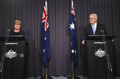 Australian Prime Minister Scott Morrison (right) and Australian Defence Minister Linda Reynolds