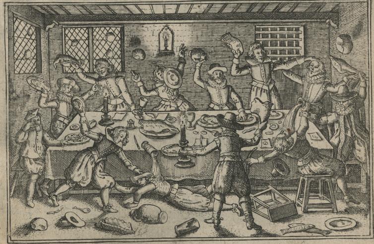 A cartoon of a pie fight