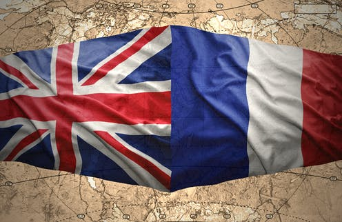 British and French flags side by side.