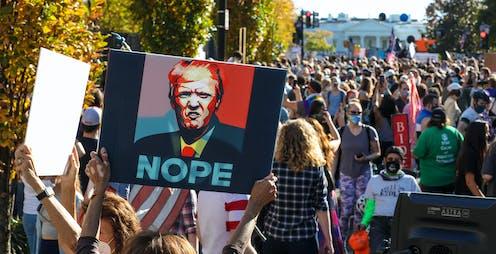 Un manifestante porta un cartel con el rostro de Donal Trump y la leyenda 'NOPE'.