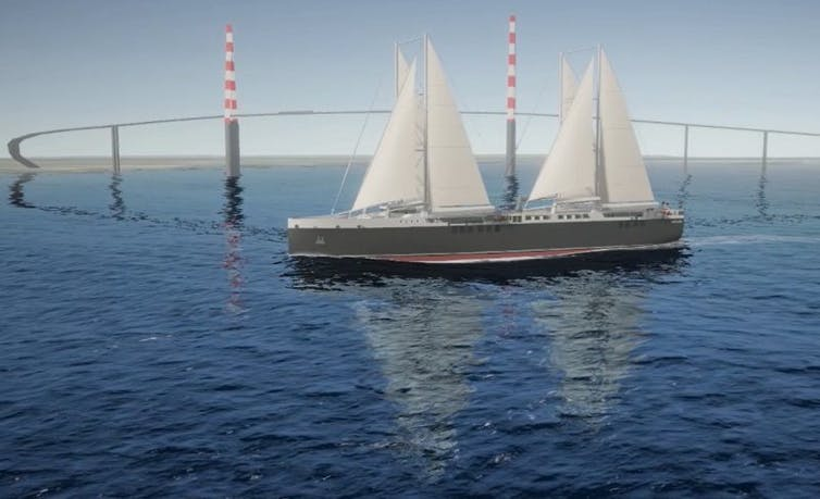 An artist impression of the Neoline sail-powered cargo ship.