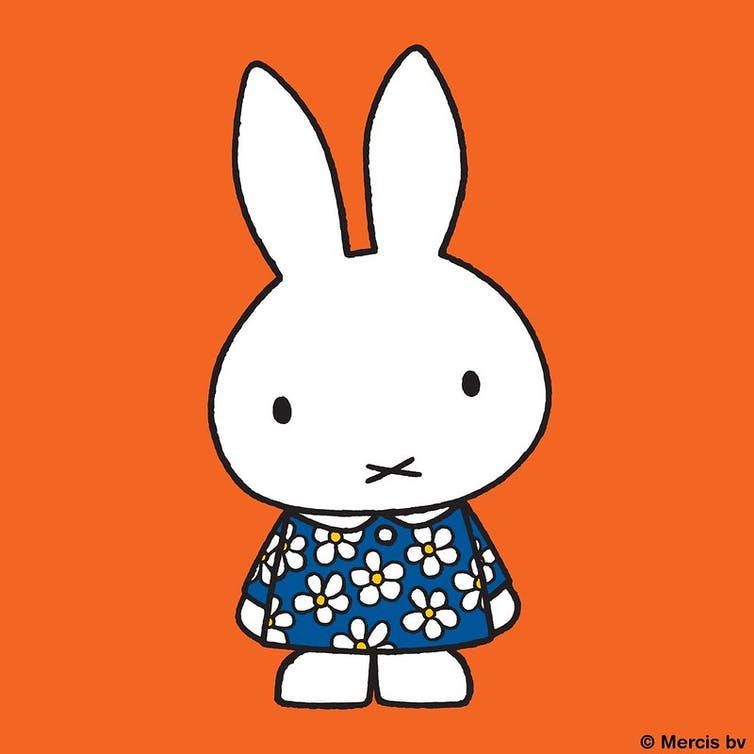 Miffy bunny illustration in flowery dress