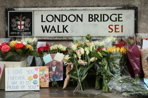 Flowers mark the site of the 2019 London Bridge attack.