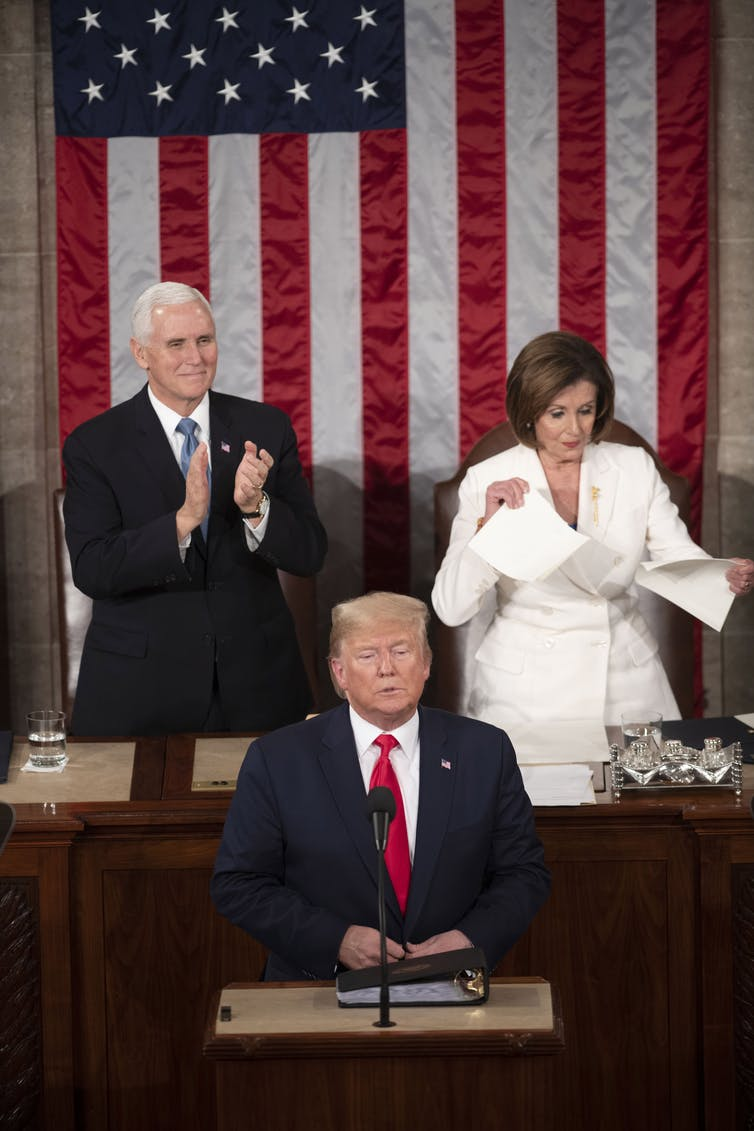 House Speaker Nancy Pelosi tears up what appeared to be a copy of President Donald Trump's State of the Union speech.