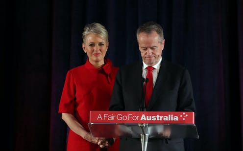 Bill Shorten, with wife Chloe, conceding defeat on election night 2019