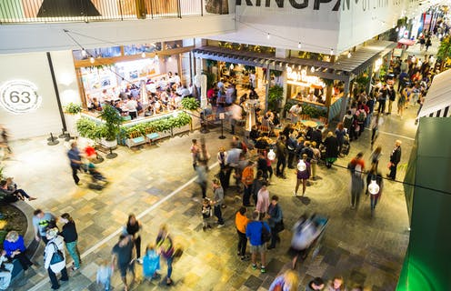 view of crowds in shopping centre