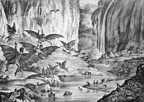 Fantasy picture with flying bat-men, unicorns, rivers and forests.