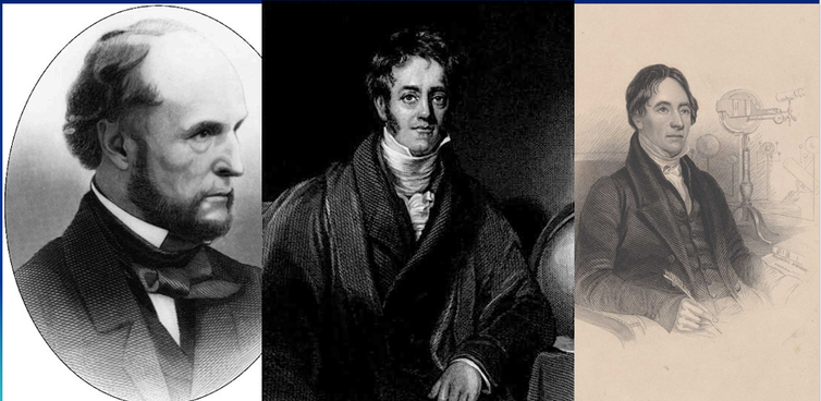 Left to right: NYTimes editor Richard Adams Locke, astronomer Sir John Herschel and theologian Revd Thomas Dick