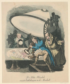 19th-century newspaper illustration purporting to show astronomer John Herschel's new telescope.
