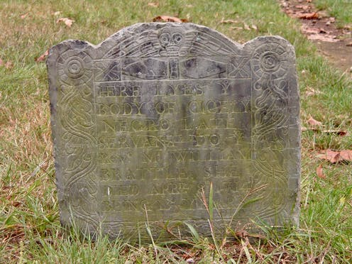 An inscribed grave marker for a girl named Cicely who died in 1714
