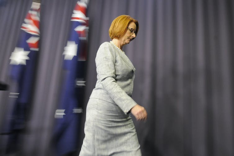 Former Prime Minister Julia Gillard leaving a press conference at Parliament House.