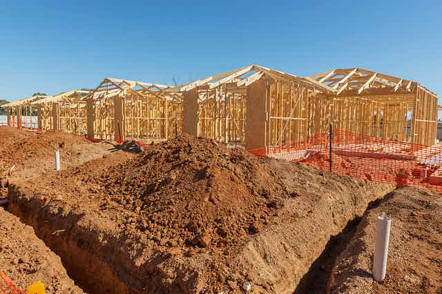 Row of new homes under construction