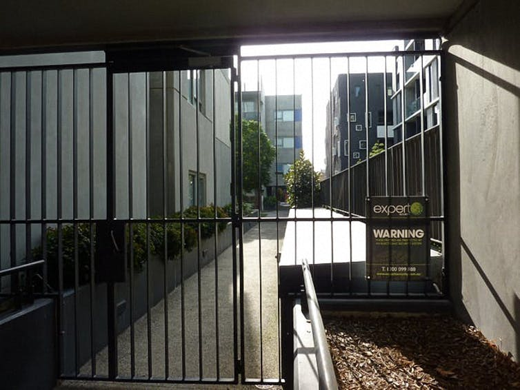 private garden area at Carlton housing estate redevelopment
