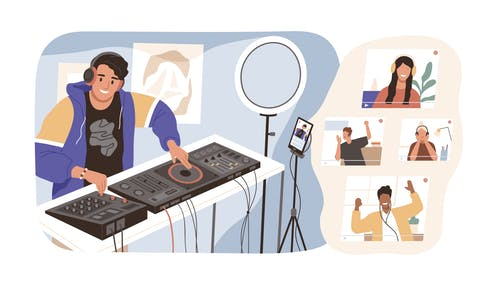 Illustration of a man DJing on live stream at home to people listening at home.
