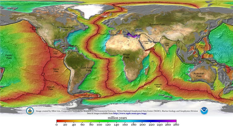 World map with colored zones showing age of ocean plates