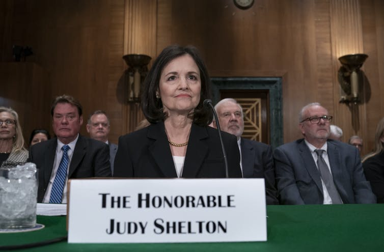 Judy Shelton appeared before the Senate Banking Committee for a confirmation hearing on Feb. 13 on Capitol Hill in Washington.